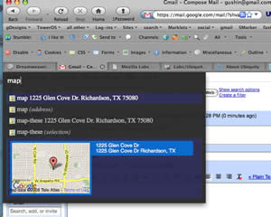 Screenshot showing the Ubiquity extension in action