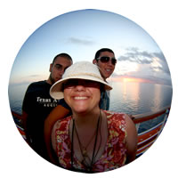 Fish eye lens picture of David, Ruthie and Jon